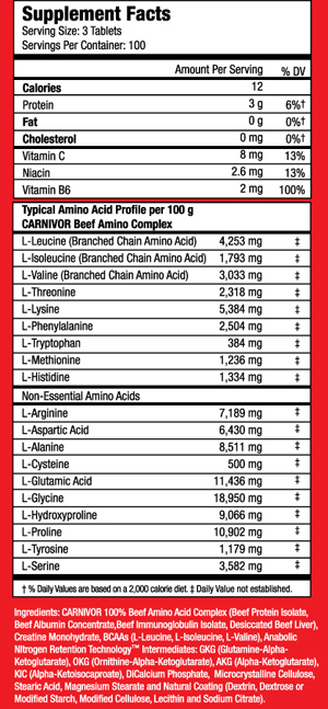 Carnivor Beef Amino 300 tabs (MUSCLEMEDS) - X-Treme Stores EU